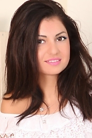 Ukrainian girl Albina,24 years old with brown eyes and dark brown hair.
