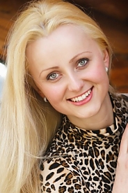 Ukrainian girl Anya,25 years old with blue eyes and blonde hair.